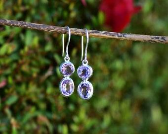 Amethyst Earring Silver Amethyst Earring Genuine Amethyst Jewelry Amethyst Dangle Earring Real Gemstone Amethyst Drop Earring Birthday Gift
