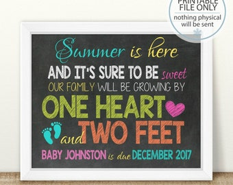 PRINTABLE Summer Pregnancy Announcement, One heart and Two Feet, Chalkboard Sign, Beach Pregnancy Reveal, Photo Prop, Summer Pregnancy