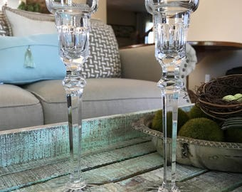 Rogaska Crystal Singlelight Candlestick Richmond Pattern Wedding Farmhouse Cottage TYCAALAK