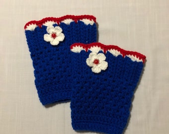 Scalloped Edge Red, White, Blue, New England Patriot, School Teams, Crochet Boot Cuffs, Leg Warmers