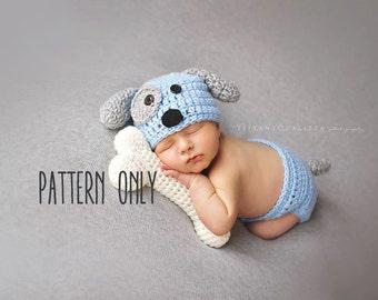 CROCHET PATTERN - Newborn Puppy hat and diaper cover and bone set, newborn photo prop set crochet pattern