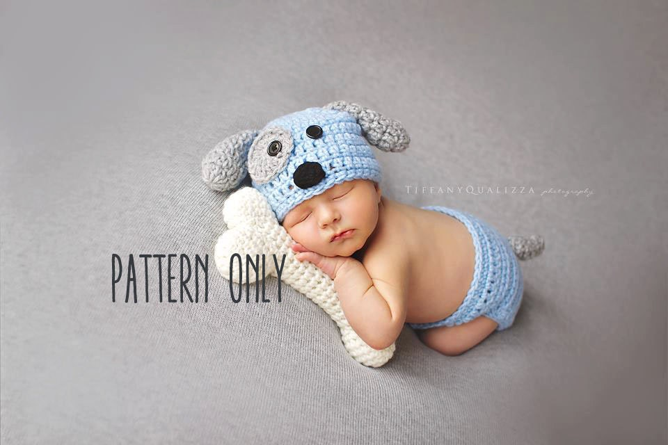 CROCHET PATTERN Newborn Puppy hat and diaper cover and bone