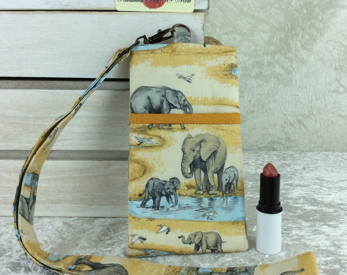Elephants Feathers Lanyard pouch case cover cell mobile phone glasses At the Waterhole Africa