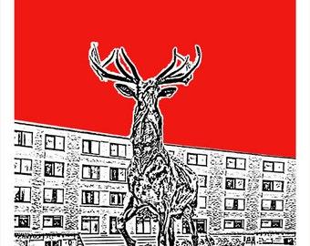 Fairfield Skyline Poster Art Print CT