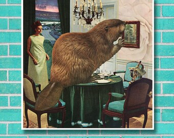 Roomscape Beaver surreal animal collage art, instant download unique wall art, home decor, retro 7 x 7 square, vintage interior kitsch print