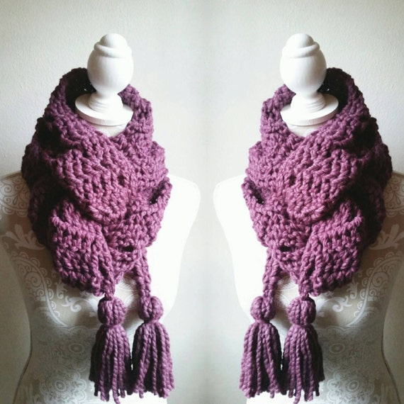 Crochet Pattern for Chunky Scarf with BIG Tassels Chunky