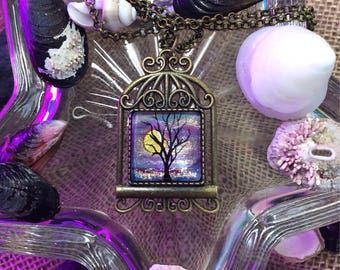 Birdcage Tree Hand Painted Cameo Necklace
