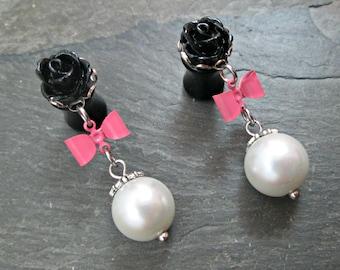 Wedding Dangle Plugs - 10g - 8g - 6g - 4g - 2g - 0g - Rose Gauges - Wedding Gauges - Bow Plugs - Bridal Gauges - Plug Earrings