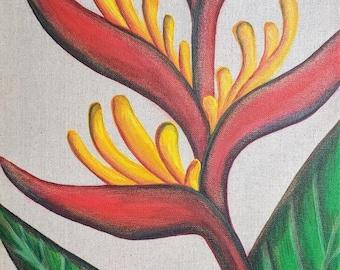 Bird of Paradise - Painted Burlap Canvas