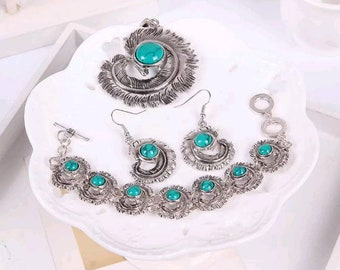 Antique silver feather turquoise necklace and earrings set