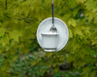 Tea Cup Bird Feeder with Pastel Flowers