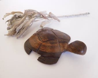 Turtle Island Totem ~ Carved Walnut Wood