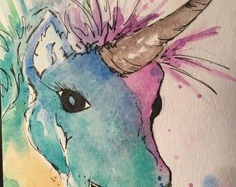 Magical Watercolor Unicorn Notecard