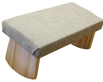 Folding Meditation Bench, two heights with cushion, portable. Eucalyptus
