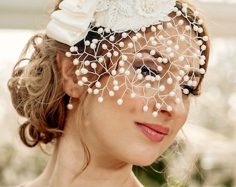 Bridal Veil MARGO – detachable Pearl Birdcage Veil with mini hat, fresh water pearls, lace applique' and bow, made to order