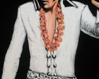 """ELVIS PRESLEY The King on Black Velvet Oil Painting 19x23"""" Hawaii  look"""