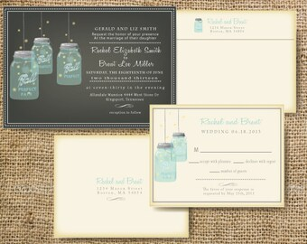 Summer Wedding Invitation Mason Jar Wedding Invitation - Free mason jar wedding invitation templates