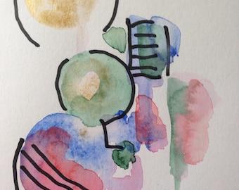 Original Watercolor watercolor postcard picture painting Watercolor