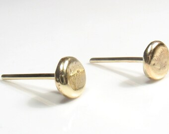 Solid Flat yellow gold nugget stud,recycle gold, wedding studs.