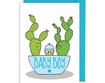 Cute baby boy card, Cactus card, New baby card, Cactus baby card, Cacti, Funny new baby card