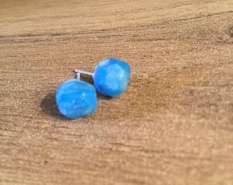 Blue quartz clay earrings