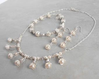 Faux Pearl Jewelry, Bridesmaid Jewelry Sets, Creamrose Swarovski Pearl Necklace Bracelet Earrings, Beaded Wedding Jewelry Set, Pinkish Cream