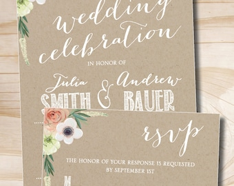 Watercolor Floral Kraft paper Wedding Invitation Response Card Invitation Suite