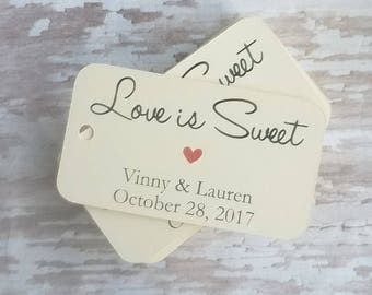 Love Is Sweet, Mini Love is sweet tags, Rectangle Tag, Small Favor Tag, Wedding Tags, Bridal Shower Tag, Candy Bar Tag, Smore Tag (261)