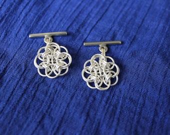 Handmade sterling silver Helm flower cufflinks