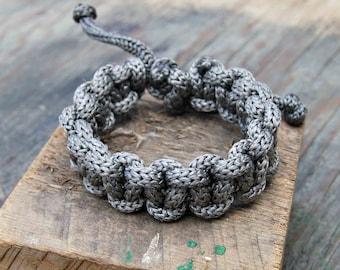 Men's Bracelets, Mens Boho Jewelry, Hippie Jewelry for Men, Chunky Bracelet, Knotted Bracelet, Grey Macrame Bracelet, Adjustable Bracelet