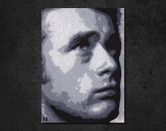 "JAMES DEAN New Original Oil Painting 2.5"" x 3.5"" ACEO. Hand-painted artwork. Sketch Card, Fan Art, Atc, Psc. Actor East of Eden, Rebel Giant"