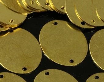 40 pcs Raw Brass 19x26 mm Oval 2 hole connector Charms ,Findings 592R-60