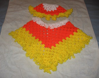 Candy Corn Poncho and Hat