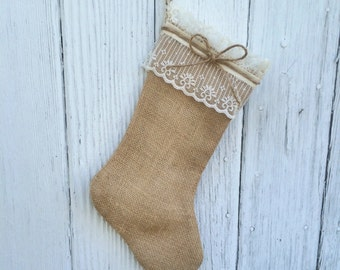 Burlap and Lace Christmas Stocking-Shabby Chic-Natural/Folk/Country/Rustic-4 Burlap Colors Available-Rustic Chic- Burlap & Lace