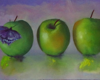 Painting of green apples, oil painting, fruit painting
