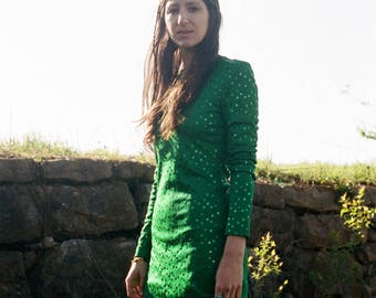70s SM Emerald Green Sequined Maxi with Long Sleeves