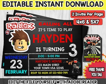 Roblox Birthday Invitation PartyRoblox Invite Printable Template Game Instant Download