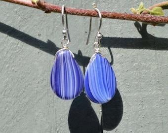 Blue and White StripeTeardrop Vintage Czech Glass Bead And Silver Earrings