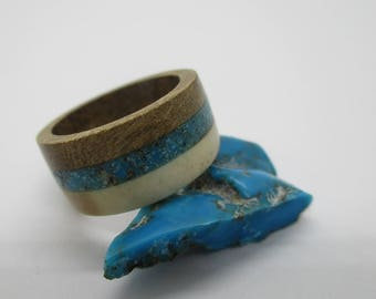 WOOD ANTLER RING with turquoise