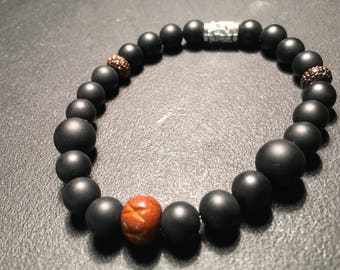 Men's Black Matte & Wood Bracelet