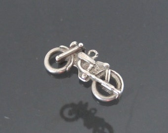 Vintage Sterling Silver 3D Motorcycle Charm Pendant