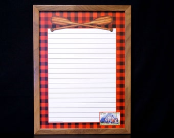 Buffalo Plaid Dry Erase Message Board / Note Board / Command Center - Black and Red Buffalo Plaid and Crossed Oars - Personalized Whiteboard