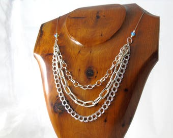 Handmade Silver Tone Necklace, Silver Plated Multi Chain Necklace, Silver Necklace, Swarovski Necklace, REDUCED PRICE