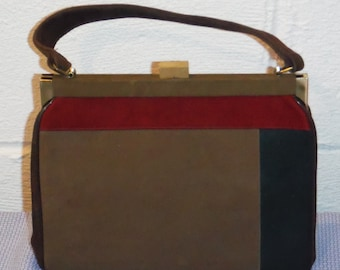 Vitage 60s 70s Brown suede color bar handbag purse