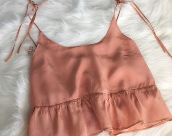 Peach / Pink Camisole Top with Button Detailing and Adjustable Straps / Trendy + Minimalistic