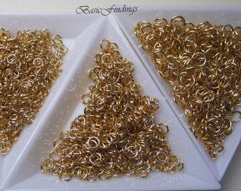 10g, Gold Plated Jump Rings:  Inner Diameter of 2.5 mm, 3 mm, 4 mm