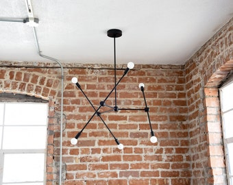 Large Modern Matte Black 6 Arm Chandelier Atom Atomic Sputnik Abstract Industrial UL Listed