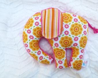 Stuffed Elephant Plush Pink Orange