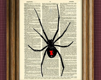 Black Widow Spider art print over an upcycled vintage dictionary page book art