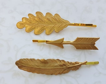Nature Trio Gold Brass Bobby Pins: Oak Leaf, Feather, Arrow; Sold as Set or Individually.  Hair Pins, Woodland, Bird, Nature Inspired